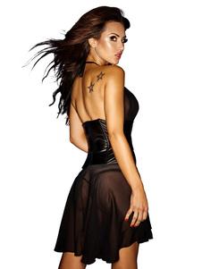 Clube sexy vestido do Chiffon da cabeçada preto sem mangas semi Sheer Skater
