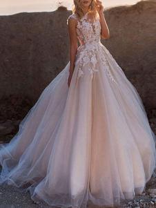 Vestidos de novia 2020 Princess Silhouette Jewel Neck Sin mangas Cintura natural Encaje Suave Rosa Tul Vestidos de novia