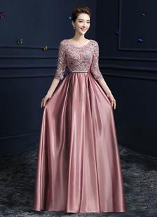 Vestidos de fiesta largos Vestido de noche 2020 Cameo Pink con 1&2 manga con escote redondo con pliegues