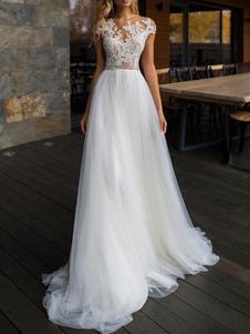 Vestidos De Noiva 2020 Ilusão Pescoço Manga Curta Até O Chão Lace Tule Macio Vestidos De Noiva De Praia Para O Casamento Boho