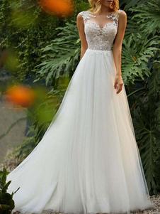Свадебное платье 2020 A Line Illusion с кружевом и бисером без рукавов длиной до пола, свадебные платья