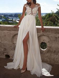 Boho فستان الزفاف 2020 خط الخامس الرقبة بلا أكمام سبليت الرباط appliqued شاطئ أثواب الزفاف مع قطار الاجتياح