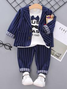Traje del portador del anillo Trajes de boda para niños Tuxedo Stripes Jacket T Shirt Pants 3 piezas Ropa formal para niños