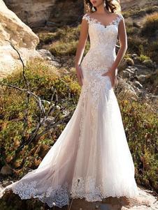 Vestido de novia 2020 Cuello en V Sirena sin mangas Adorno de encaje Vestidos de novia clásicos con cola larga