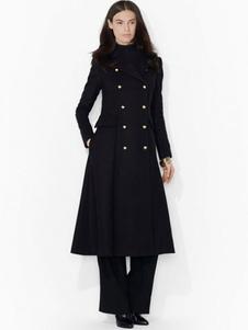 Черные женские Peacoat длинный рукав отложным воротником двубортный кнопки пальто