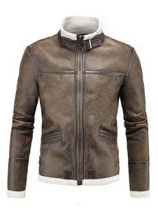 Giacca di pelle uomo marrone in cuoio poliuretano casual con colletto alla coreana zip