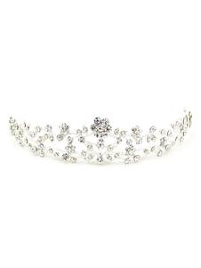 Coroa Strass prata pérola Headpiece Tiara de flores de casamento nupcial (15 Cm X 8 Cm X 3 Cm)