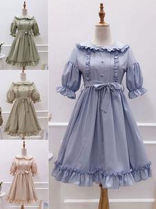 Vestido Lolita de Mangas Festa de Chá com mangas de 1/2 de algodão Estilo ROCOCÓ cor sólida