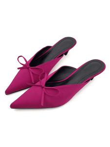 ミュール サンダル 絹織物 フクシア  ポインテッドトゥ 4.5cm バックレス シューズ リボン キトンヒール 外出 レディース靴