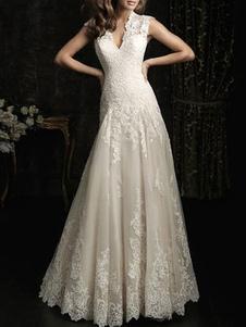 Простое свадебное платье с кружевом без спинки и V-образным вырезом без рукавов из тюля Свадебные платья с скользящим шлейфом