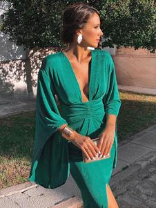 Vestido Ajustado Verde Mangas De Campana Escote En V Profundo Con Abertura