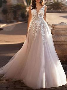 Vestidos De Noiva 2020 Tule Decote Em V Profundo Linha A Sem Mangas Multicamadas Tule Lace Applique Vestidos De Noiva Clássicos Com Cauda