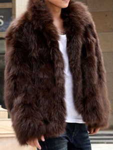 Faux Fur Coat Men Coat Black Turndown Collar Casaco de inverno de manga comprida