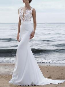 Свадебное платье 2020 Jewel Neck без рукавов Русалка Свадебные свадебные платья со шлейфом