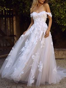 Vestidos De Noiva 2020 Linha A Fora Do Ombro Manga Curta Lace Flora Applique Tule Vestido De Noiva Com Cauda
