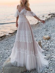 Свадебные платья Boho 2020 V Neck A Line Кружевное свадебное платье с коротким рукавом для свадьбы на пляже со скользящим шлейфом