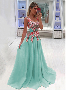 فستان ماكسي طويل من الشيفون بدون أكمام فستان شيفون مزين بزهور 2020