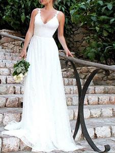 Vestidos De Noiva Simples 2020 A Linha Decote Em V Straps Sem Encosto Comprimento Do Chão Vestidos De Noiva Clássicos