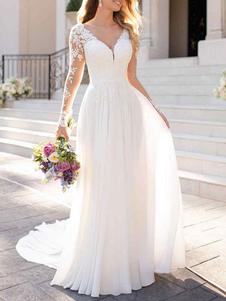 Vestidos De Noiva 2020 Chiffon Decote Em V Linha A Manga Comprida Lace Applique Vestido De Noiva De Casamento De Praia Com Cauda