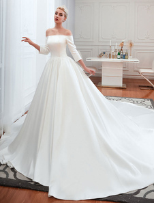 Vestido de novia vintage 2020 Satén Manga 3/4 fuera del hombro Vestidos largos hasta el suelo con tren capilla