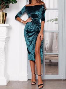 Abito sexy aderente Abito lungo in velluto increspato sulla spalla che modella il vestito longuette