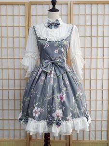 Сладкая Лолита OP свет синий 3/4 длины рукава цветочные печатных один кусок Лолита платье