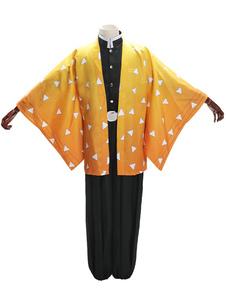 عيد الرعبشيطان القاتل Kimetsu لا Yaiba تأثيري مجموعة agatsuma zenitsu البرتقال تأثيري حلي