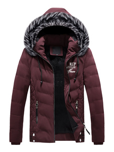 Homens Parka Casaco Furry Hood Imprimir Zipper Decor Algodão Preenchimento Ocasional Sobretudo Acolchoado Inverno