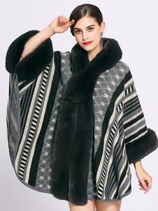 Mantella oversize con poncho nero con cappuccio color block poncho da donna