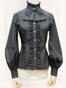 ロリィタブラウス ブラック ポリエステル カジュアル ゴシック スタンドカラー リボン柄 長袖