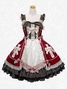Sweet Lolita Vestito JSK Atrovirens quadrato senza maniche in chiffon Lolita Skirt Jumper