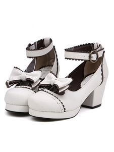 Lolita doce sapatos branco salto robusta plataforma tornozelo cinta arcos Lolita calçados