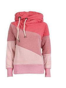 الوردي البلوز هوديس مقنعين كم طويل اللون بلوك البلوز للنساء