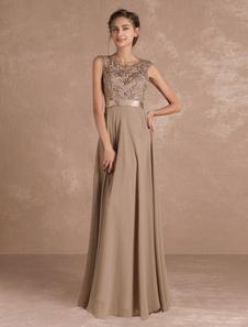 Vestito per la madre della sposa  svasato grigio talpo a terra con scollo tondo smanicato perline pizzo