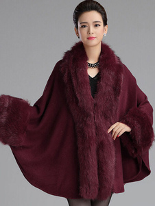 Elagant Luxury Faux Fur V-Neck Poncho Coat For Woman