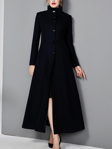قميص للمرأة الوقوف الياقة بأكمام طويلة أزرار معطف الصوف عارضة