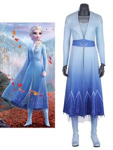 Светло-Голубой Модальный Наряд Фильм Косплей Набор Frozen Elsa Disney Cartoon Косплей Костюм