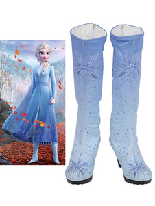 Costume Carnevale Scarpe cosplay con paillettes congelate Elsa per calzature Cosplay celeste