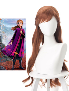 Carnaval Frozen 2 Cosplay Princess Anna Hazel Cosplay Peluca Disney Cartoon Cosplay
