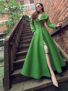 Mulheres casaco de lã Turndown Collar bolsos verde longo casaco de inverno