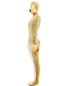 Moldar o macacão de látex amarelo feminino Halloween