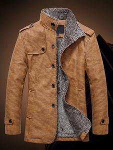 Cappotto di shearling Soprabito da uomo Colletto corto Giacca di cotone grigio invernale Soprabito in cotone