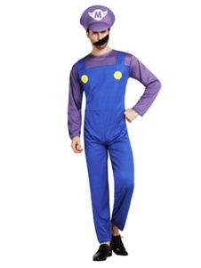 Мужской костюм Хэллоуина Синий двухцветный комбинезон Super Mario Bros с хлебом и шляпой Костюм Waluigi