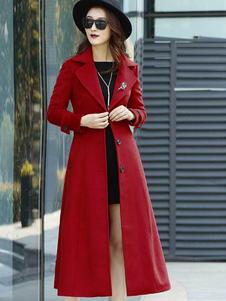 Red Wrap Пальто отложным воротником с длинными рукавами Кнопки Негабаритных Повседневная Верхняя одежда для женщин