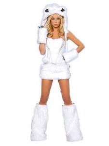 Сексуальный костюм медведя Хэллоуин белый белый костюм искусственного меха в 4 части Хэллоуин