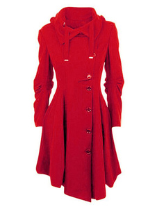 Cappotto monocolore chic & moderno cotone misto ornato di gale