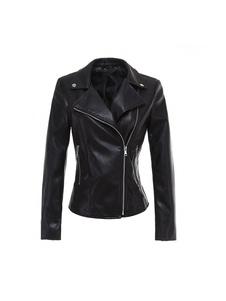 Giacca da moto in pelle nera con cerniera simile a cerniera per le donne