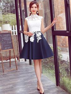 Traje de Baile blanco con escote alto Cremallera de línea A sin mangas de encaje