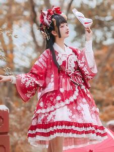 Abito LSS Wa Lolita Kimono stampa floreale Abito Lolita fiocchi fiori Gonne Lolita rosse