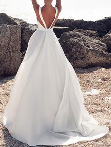 Vestidos de novia de época Joya Cuello sin mangas Lazos con tren Satén Vestidos de novia de tela
